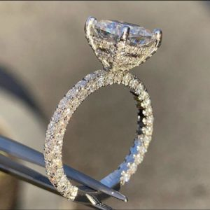 3.25 Ctw Solitaire Cushion Diamond Hidden Halo With Micro Pave Diamond Engagement Ring 14k White Gold