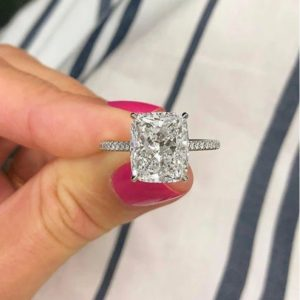 3.10 Carat Cushion VVS1 Solitaire Diamond With Accents Fancy Engagement Ring 14k White Gold Over