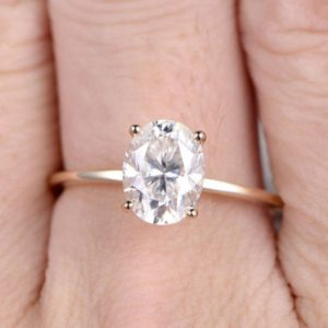 Classic 2.00 Carat Oval Cut White Diamond Solitaire Engagement Ring Real 14k Yellow Gold