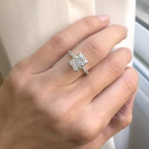 3.00 Ctw Radiant Cut Solitaire Diamond With Hidden Halo Engagement Ring Solid 10K White Gold