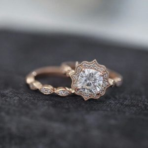 2.43 Ctw Forever Cushion Cut Diamond Antique Halo Luxury Engagement Ring Set Solid 14k Rose Gold
