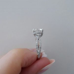 Classic 3.10 Ctw Solitaire Cushion Cut Diamond Beautiful Twisted Engagement Ring Solid 14k White Gold