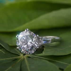 3.25 Ct Excellent Cut Round Diamond With Baguette 3-Stone Engagement Ring Solid 14k White Gold
