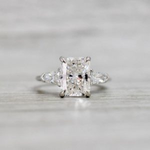 3.00 Ctw Radiant White Diamond Side Stone Classic Engagement Ring 14k White Gold Plated
