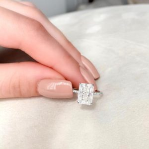 3.00 Ctw White Radiant Cut Solitaire Diamond With Hidden Halo Engagement Ring Solid 14k White Gold