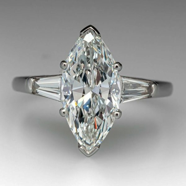 2.63 Ctw Marquise Cut Solitaire Diamond With Baguette Accents Engagement Ring Real 10k White Gold
