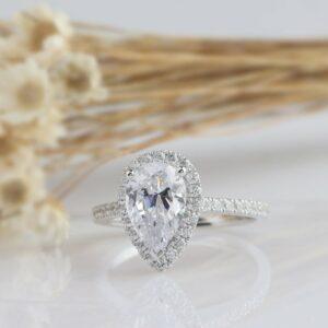 2.50 Ctw Pear Shape White Diamond Halo Bridal Engagement Ring Solid 14k White Gold