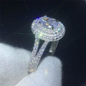 2.46 Ctw White Oval Cut Diamond Double Halo Classic Engagement Ring Solid 14k White Gold