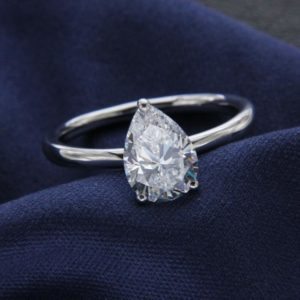Fancy 2.50Ct Pear Shape White Diamond Solitaire Engagement Ring 14k White Gold Over
