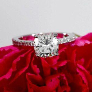 Unique 2.36 Ctw Cushion Cut Brilliant Diamond Solitaire Engagement Ring 10k White Gold