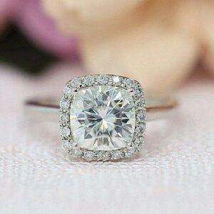 2.32 Ctw Cushion White Diamond Classic Halo Engagement Ring 14k White Gold Plated