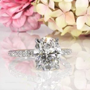 3.00 Carat Oval Cut Brilliant Diamond Solitaire With Pave Diamond Engagement Ring 14k White Gold