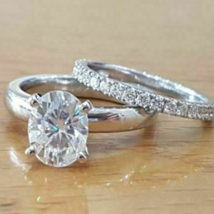 2.38 Ctw Oval Cut Solitaire Diamond Engagement Ring Wedding Band 14k White Gold Over