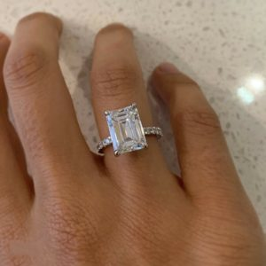 Forever 4.30 Ctw Emerald Cut Diamond Solitaire Engagement Ring Solid 10k White Gold
