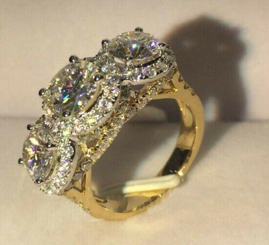 2.89 Ctw Round White Diamond 3-Stone Halo Luxury Engagement Ring Solid 14k Yellow Gold