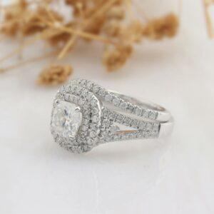 2.56 Ctw Cushion VVS1 Diamond Double Halo Engagement Ring Wedding Set Real 14k White Gold
