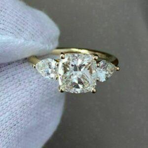 2.90 Ctw Three-Stone Cushion Cut & Pear Shape Diamond Engagement Ring 14k Yellow Gold Over