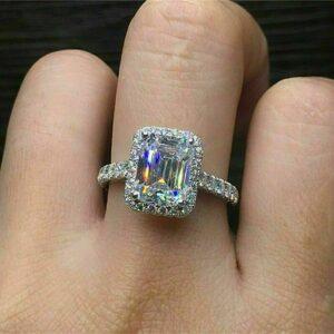 2.60 Carat Emerald White Diamond Halo Engagement Ring Solid 14k White Gold