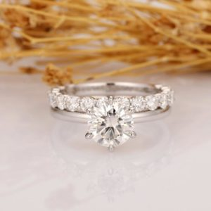 1.50 Carat Forever Round Solitaire Diamond Engagement Ring Wedding Band 14k White Gold Plated
