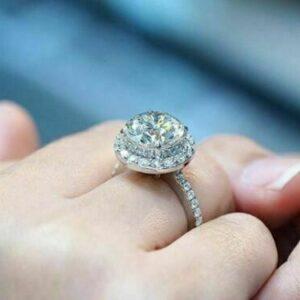 2.57 Ctw Round Cut White Diamond Halo Luxury Engagement Ring Solid 14k White Gold