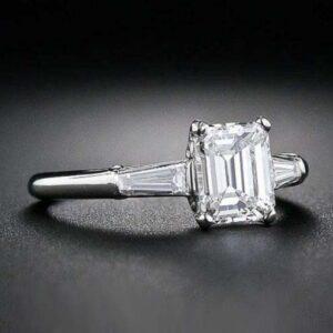 2.56 Ctw Emerald Cut Solitaire Diamond Side Baguette 3-Stone Engagement Ring 10k White Gold