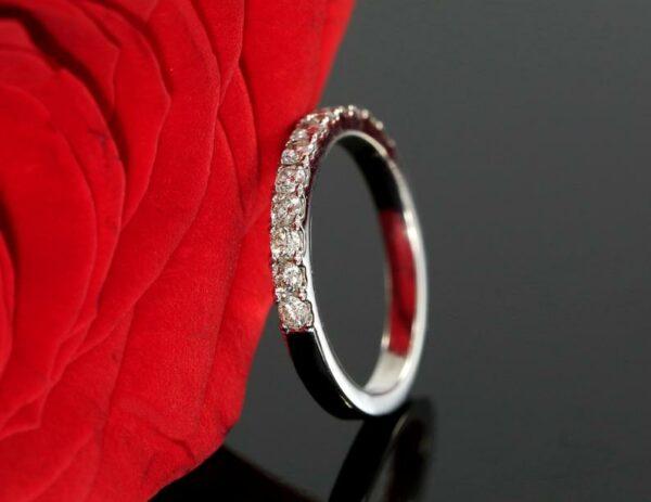 Half Eternity Wedding Band, 0.38 Ctw  Brilliant VVS1 Diamond Anniversary Gift Ring 14K White Gold