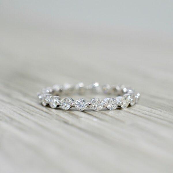 Full Eternity Wedding Band, 1.25 Ctw Brilliant Cut Diamond Band Solid 10k White Gold