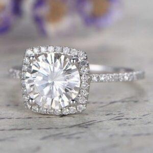 2.50 Ctw Round D/VVS1 Diamond Cushion Shape Halo Wedding Engagement Ring 14k Gold Over