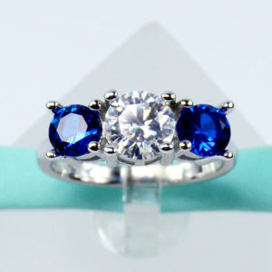 1.75 Ctw Round Diamond With Sapphire 3-Stone Engagement Ring 14k White Gold Over