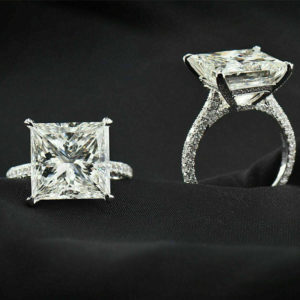 3.00 CT Princess Cut White Diamond Micro Pave Accents Luxury Engagement Ring 14k White Gold