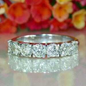 7-Stone 2.05Ct Round Cut Solitaire Diamond Anniversary Wedding Band 14k White Gold