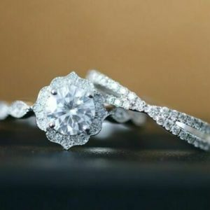 Art Deco 2.93 ctw Round Cut Diamond Antique Engagement Ring Set 14k White Gold Over