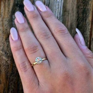 2.00 carat Forever Round Cut Diamond Solitaire Engagement Ring 14k Yellow Gold Over