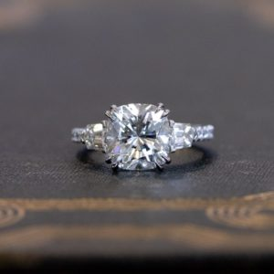 3.30 ctw Cushion Cut Solitaire Double 4-Prong Set  Diamond Engagement Ring 14K White Gold