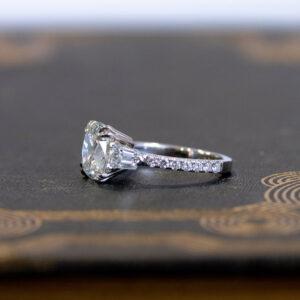 3.30 ctw Cushion Cut Solitaire Double 4-Prong Set  Diamond Engagement Ring 14K White Gold