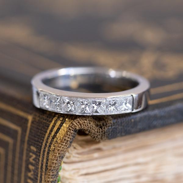 7-stone Half Eternity Wedding Band, 1.50 ct Princess Cut Diamond Channel Set Band In 14k White Gold