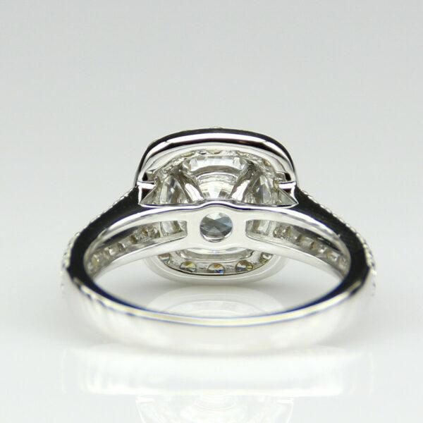 2.68 ctw Round VVS1 Diamond Halo 2-Shank Engagement Ring Real 10k White Gold