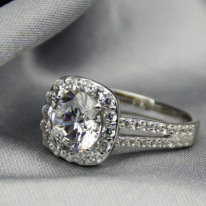 2.68 ctw Round VVS1 Diamond Halo 2-Shank Engagement Ring Real 10k White Gold