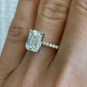 2.38 ctw Emerald Cut Diamond Solitaire 2-Tone Engagement Ring Solid 14k Yellow Gold
