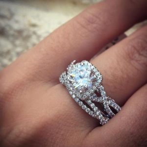 3.05 ctw Brilliant Cut Diamond Halo With Infinity Engagement Ring Set 14k White Gold