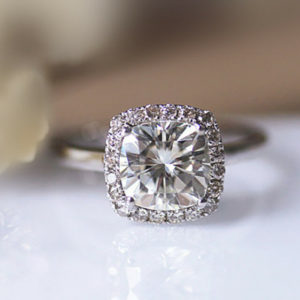 2.27 ctw White Cushion Cut Diamond Halo Engagement Ring Real 14k White Gold