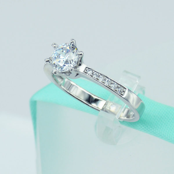 1.70 Ctw Forever Round D/VVS1 Diamond Solitaire With Accents Engagement Ring 14k Gold Over