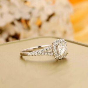 2.37 Ctw Cushion Cut White Diamond Halo Best Wedding Engagement Ring Solid 14k White Gold