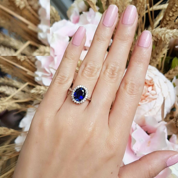 2.80 ctw Oval Cut Blue Sapphire Diamond Halo Women's Engagement Ring 14K White Gold Over