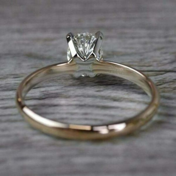 2-Tone Ring, 2.00 CT Brilliant Oval Cut Diamond Promise Ring Engagement Ring 14k Gold Plated