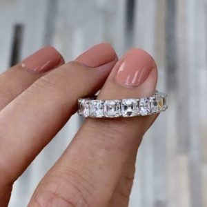8mm Asscher Cut Solitaire Diamond Engagement Ring Luxury Eternity Wedding Band Solid 14k White Gold