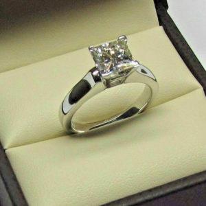 3.00 CT Princess Cut White Diamond Luxury Wedding Engagement Ring Solid 14k White Gold