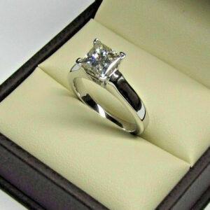 3.00 CT Princess Cut White Diamond Luxury Wedding Engagement Ring Solid 14k White Gold