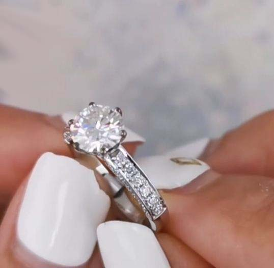 2.86 ctw Round Cut Diamond Side 3-Row Accents Luxury Engagement Ring 14k White Gold