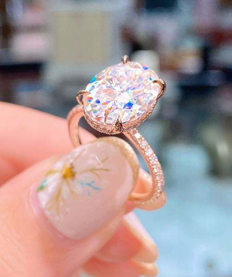 3.70 ctw White Oval Cut Brilliant Diamond Pretty Engagement Ring For Women's Solid 14k Rose Gold